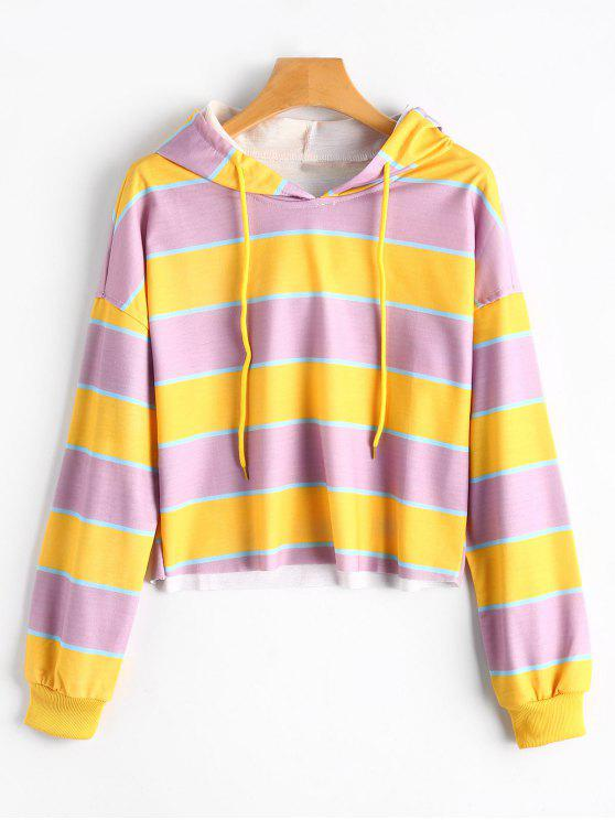 f9f064e8c 25% OFF  2019 Contrast Striped Drawstring Hoodie In YELLOW