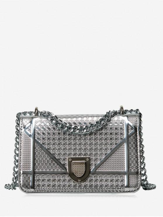 Geometrisch Gesteppte Kette Crossbody Tasche - Silber