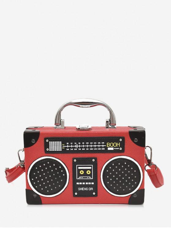 fashion Faux Leather Radio Shaped Crossbody Bag - RED