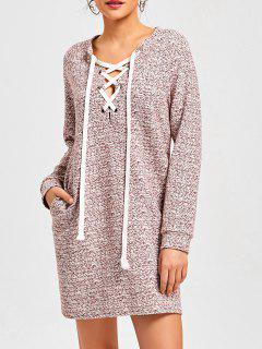 Lace Up Heathered Sweatshirt Kleid - Rot S
