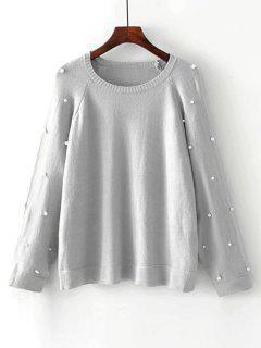 Übergröße Pullover Mit Raglan Ärmel Und Faux Perlen - Grau M