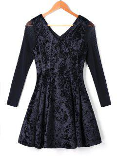 Long Sleeve Velvet Skater Dress - Black Xl