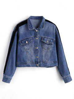 Button Up Ribbons Trim Denim Jacket - Denim Blue M