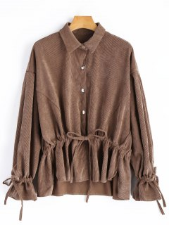 Snap-button Drawstring Corduroy Coat - Deep Brown