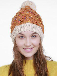 Color Splicing Slouchy Knitting Pom Hat - Orange