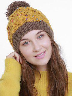 Color Splicing Slouchy Knitting Pom Hat - Ginger