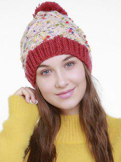 Color Splicing Slouchy Knitting Pom Hat - Off-white