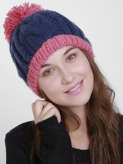 Outdoor Hemp Flowers Pom Knit Beanie - Blue And Pink