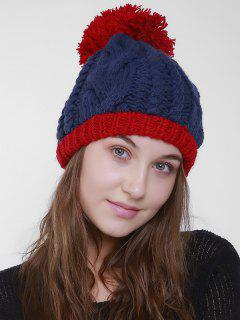 Outdoor Hemp Flowers Pom Knit Beanie - Blue And Red
