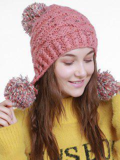Fuzzy Ball Embellished Earmuff Knit Beanie - Pink