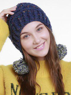 Fuzzy Ball Embellished Earmuff Knit Beanie - Dark Blue