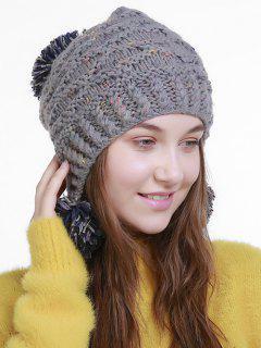 Fuzzy Ball Embellished Earmuff Knit Beanie - Gray