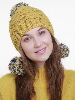 Fuzzy Ball Embellished Earmuff Knit Beanie - Earthy