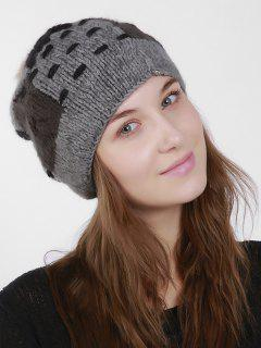 Color Block Knit Slouchy Pom Hat - Gray