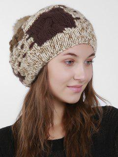 Color Block Knit Slouchy Pom Hat - Beige