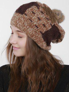 Color Block Knit Slouchy Pom Hat - Coffee