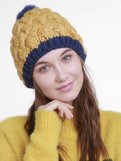 Color Trim Basket Weaving Knit Pom Hat - Ginger