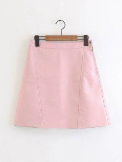 Side Zip Faux Leather A Line Mini Skirt - Pink S