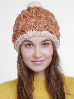 Color Trim Basket Weaving Knit Pom Hat - Orange
