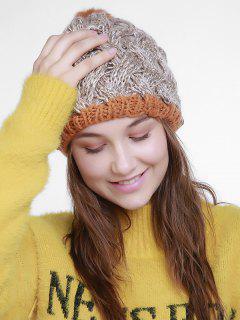 Color Trim Basket Weaving Knit Pom Hat - Beige
