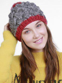 Color Trim Basket Weaving Knit Pom Hat - Gray