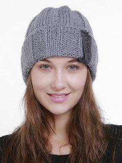 Label Flanging Knit Hat - Gray