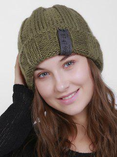 Label Flanging Knit Hat - Army Green