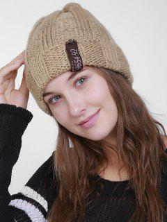 Label Flanging Knit Hat - Light Khaki