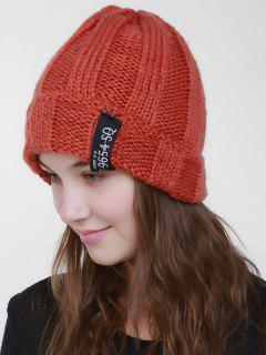 Label Flanging Knit Hat - Orange Red