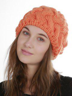 Faux Fur Plain Weaving Knit Hat - Orange