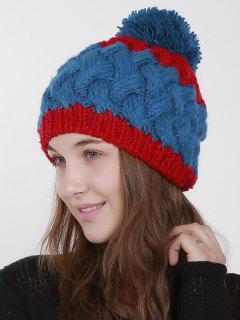 Color Trim Weaving Knit Pom Hat - Blue