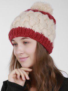 Color Trim Weaving Knit Pom Hat - Beige