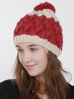Color Trim Weaving Knit Pom Hat - Red