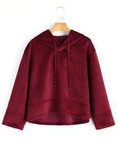 Oversized Velvet Hoodie - Wine Red S