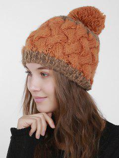 Color Trim Weaving Knit Pom Hat - Burnt Orange