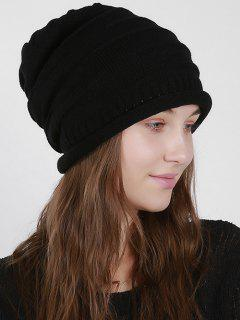Stripy Slouchy Knit Hat - Black