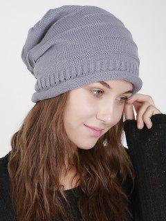 Stripy Slouchy Knit Hat - Light Gray