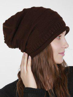 Stripy Slouchy Knit Hat - Coffee