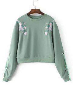 Bow Tied Sleeve Floral Embroidered Sweatshirt - Green S