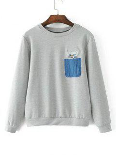 Contrasting Pockets Cat Embroidered Sweatshirt - Gray L