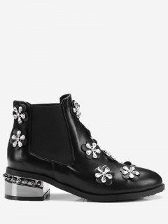 Rhinestone Elastic Band Ankle Boots - Black 42