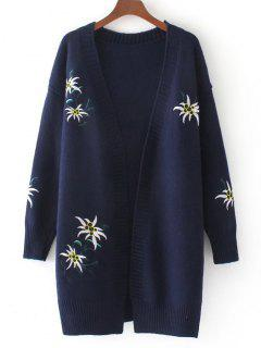 Loose Floral Embroidered Open Front Cardigan - Purplish Blue