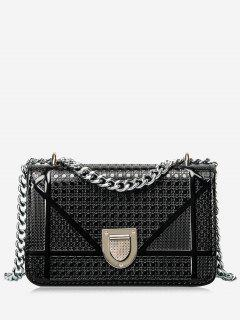 Geometric Quilted Chain Crossbody Bag - Black