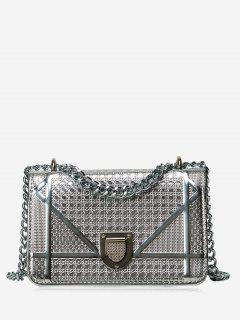 Geometric Quilted Chain Crossbody Bag - Silver