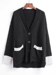 Button Up Two Tone V Neck Cardigan - Black