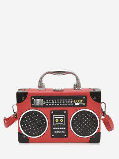 Faux Leather Radio Shaped Crossbody Bag - Red