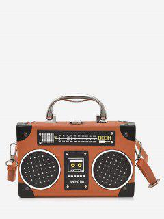 Faux Leather Radio Shaped Crossbody Bag - Brown