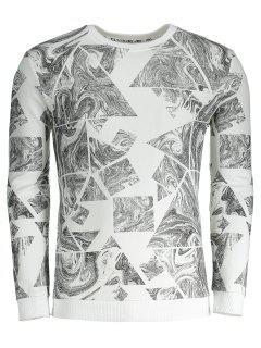 Abstract Print Mens Sweatshirt - White L