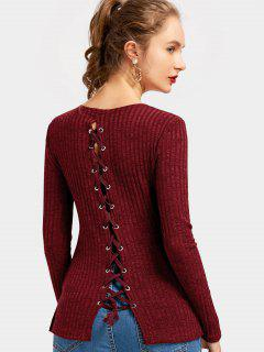 Back Lace Up Side Slit Knitted Top - Deep Red L