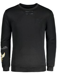 Frog Button Bird Embroidered Crew Neck Sweatshirt - Black Xl
